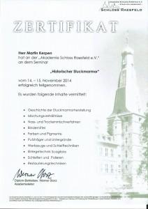 Zertifikat - Historischer Stuckarmor