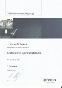 Teilnahmebestätigung - Metallische Wandgestaltung